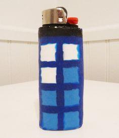 TARDIS from Doctor Who Perler Bead LIGHTER CASE. $10.00, via Etsy.