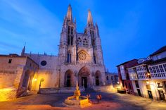 Night view of Burgos Cathedral in Spain.