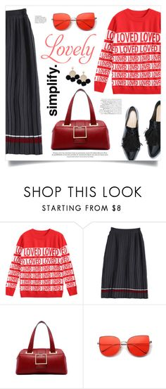 """Lovely Skirt"" by mahafromkailash ❤ liked on Polyvore featuring chic, pleatedskirt, pleats, blackandred and fall2017"