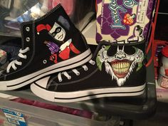 f01baf154460 Custom converse joker harley quinn example by MadebyLeia on Etsy Painted  Converse