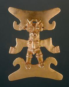 Deer-Head Figure Pendant    Date:      11th–16th century  Geography:      Costa Rica, Burica Peninsula  Culture:      Chiriqui  Medium:      Gold  Dimensions:      H. 4 1/4 x W. 3 1/4 in. (10.8 x 8.3 cm)   Classification:      Metal-Ornaments