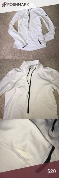 Nike Zip Up Pull Over Really cute, beautiful white pull over. I wore this one time and got it for Christmas. It just doesn't fit me well but it's a beautiful piece. My price is firm on this piece because I never really wore it. Next day shipping 📤 and no trades! 😘 Nike Jackets & Coats