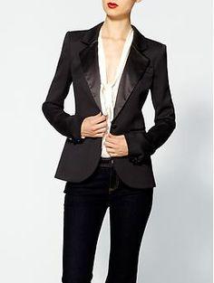 Classic Tuxedo Blazer, love the satin detailing (Rachel Zoe Hutton Tuxedo Jacket | Piperlime)