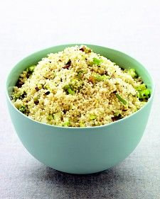 Couscous with Pistachios  1 teaspoon olive oil  1 scallion, white and green parts separated and thinly sliced  Coarse salt and ground pepper  3/4 cup couscous  1/3 cup shelled pistachios, chopped
