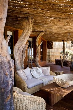 South Africa safari package with Madikwe Game Reserve, Tswalu Kalahari, and Cape Town. Ask our Africa experts about customizing a South Africa vacation! Yoga Studio Design, African Interior, Interior And Exterior, Interior Design, Bamboo House, Natural Building, Lodge Decor, Cabana, Resorts
