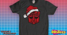 Transformers Autobot Santa T-Shirt made by 80sTees.com in collections: 80s Cartoons: Transformers, & Department: Adult Mens, & Color: Charcoal