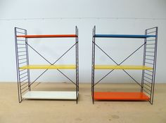 A Set of Mulit-Coloured Dutch Metal Floor Standing Shelves by Tomado 1950s