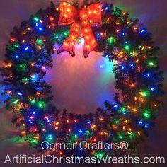 4 Foot Color Changing L.E.D. Prelit Christmas Wreath #ArtificialChristmasWreaths #ChristmasWreaths #Wreaths #PrelitWreaths  #LargeWreaths #multicolorlights