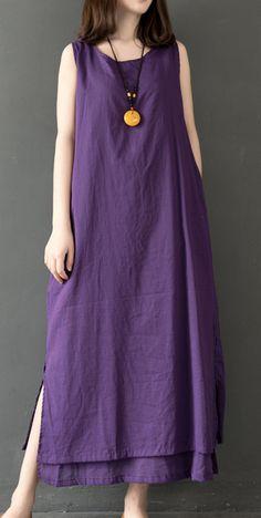 DIY sleeveless cotton Wardrobes linen purple o neck Robe Dress summer – Linen Dresses For Women Stylish Dresses, Simple Dresses, Casual Dresses For Women, Dresses For Work, Summer Dresses, Clothes For Women, Linen Dresses, Cotton Dresses, Women's Dresses