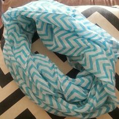 Chevron infinity scarf Aqua and white thin soft material infinity scarf Accessories Scarves & Wraps