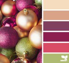 Romantic Christmas colour sheme. A pretty twist on the traditional red, gold and green.