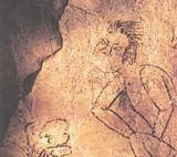Drawing of a human figure performing a bloodletting ritual, Naj Tunich cave, Guatemala
