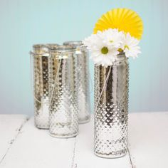 "12"" Tall Silver Hanging Hobnail Jars, 12 Pack"
