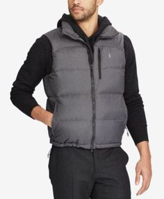 Polo Ralph Lauren Men's Water-Repellent Down Vest $245.00 Whether you're in the city or camping with friends, this quilted vest from Polo Ralph Lauren offers protection against the elements.