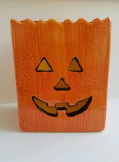 6c698d0407 Ceramic Bag Pumpkin Jack o lantern Halloween Candle Holder Orange