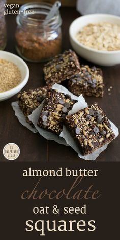 Almond Butter Chocolate Oat & Seed Squares. Vegan, gluten-free. Recipe at An Unrefined Vegan.