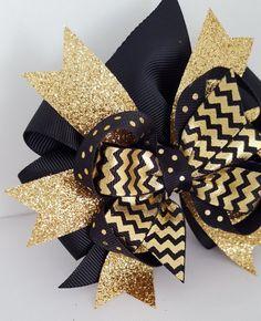 "Gold Hair Bow Glitter 4/"" New w//o Tags"