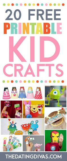 TONS of FREE printable crafts for kids. Everything from puppets to masks to paper dolls. www.TheDatingDivas.com