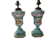 German Painted Lamps, Pair