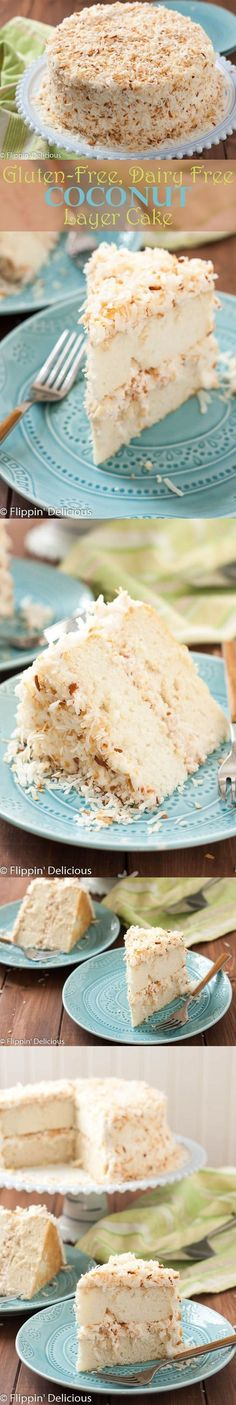 Coconut milk This Dairy Free Gluten Free Coconut Layer Cake is a stunning spring dessert. The toasted coconut sprinkled all over the silky dairy free coconut buttercream hides any imperfections making this is an easy, show-stopping dessert for Easter. Patisserie Sans Gluten, Dessert Sans Gluten, Low Carb Dessert, Gluten Free Sweets, Gluten Free Cakes, Gluten Free Cooking, Dairy Free Recipes, Vegan Gluten Free, Paleo