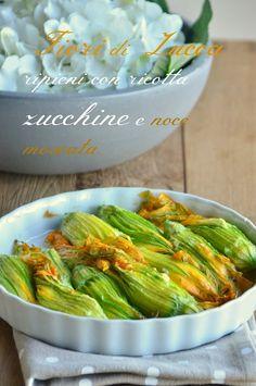 Fiori di zucca ripieni di ricotta zucchine e noce moscata