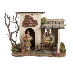 Posada para el pesebre 12 cm, Fontanini | venta online en HOLYART Christmas Nativity Scene, Santa Claus Is Coming To Town, Diy For Kids, Diorama, Fontanini, Wallpaper, Creative, Painting, Portal