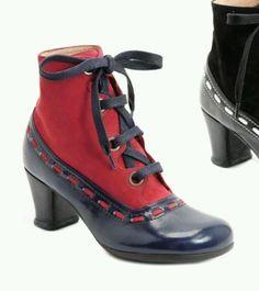 $359 JOHN FLUEVOG OPERETTAS BORDONI 6.5 BLUE & RED LEATHER BOOTS #JohnFluevog #FashionAnkle