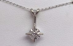 "14K WHITE GOLD DIAMOND STARBURST PENDANT WITH 16"" CHAIN #Pendant"