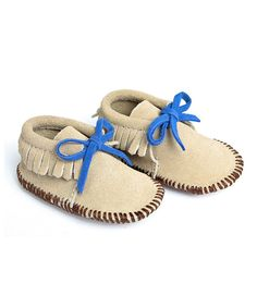 Look at this Mili Designs NYC Beige Suede Moccasin Booties on #zulily today!