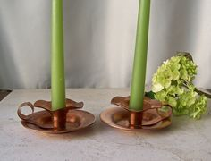 Vintage Thumb Hold Candlestick Holders Copper by cynthiasattic
