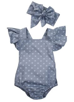 Polka Dot Butterfly Sleeve Romper 2Pcs set