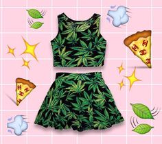 """Just added this """"#smoking"""" #hot #NOVELTY """"#GO #GREEN"""" #TWO #PIECE #SET ~ #FITTED #CROP #TOP #TANK + #SKATER #SKIRT to our #shop! ☁️✨ LINK'S IN BIO❣ 