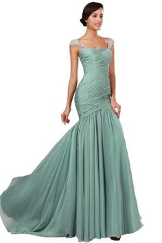 eDressit New Beaded Cap Sleeves Pleated Top Green Evening Party Dress Prom Ball Gown(00131004)