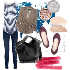 A fashion look from September 2010 featuring sleeveless tank tops, ruched-sleeve blazer and skinny fit jeans. Browse and shop related looks.