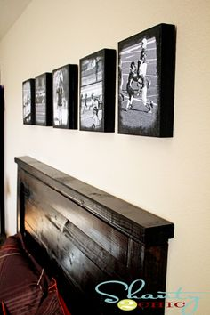 """canvas"" prints with ModPodge onto particle board"