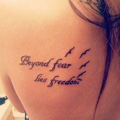 """Short Meaningful Tattoo Quotes for Women """"Love me for who I am"""" quote on shoulder """"Live your dreams"""" quote on shoulder """"Do what you love"""" quote on arm """"Who is more real?"""" quote on shoulder """"Forever young"""" quote on the back of neck """"No one is alive, who is your…."""" quote on back """"Let it …"""