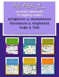 All About... non fiction animal books for beginning readers (full page color version to use on interactive whiteboard,  full page BW version, half page BW fold and staple take home book for students)  Includes 6 different books about animals (save $5.00 by purchasing the bundle).  $