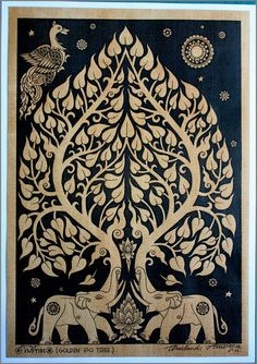 """The truth you believe and cling to makes you unavailable to hear anything new."" ~ Pema Chodron Thai traditional art of Bodhi tree by silkscreen by AmornGallery ♥ lis Kalamkari Painting, Madhubani Painting, History Of Buddhism, Bodhi Tree, Tree Tree, Madhubani Art, Gautama Buddha, Indian Folk Art, Indian Art Paintings"