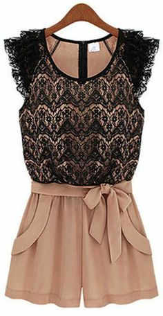 Pink Lace Pattern Rompers