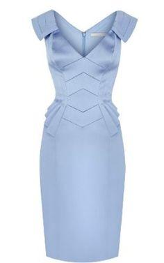 Noemie Elegant V Collor Slim Dress (Nattier Blue)