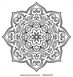 Oriental simple floral mandala. Vector round ornament. Template for tile, carpet or any surface.