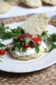 Greek Salad Shortcakes with Whipped Feta