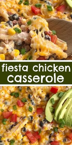 Fiesta Chicken Casserole | Fiesta chicken casserole is filled with chunks of chicken, tender pasta, corn, black beans, all in a one dish cheesy chicken casserole. Simple to make and a great way to use up leftover chicken or a Rotisserie chicken. | #fiesta #chicken #casserole