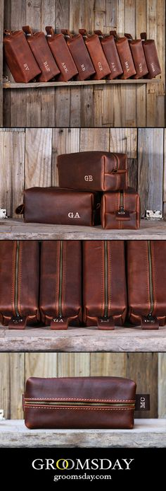 Handmade leather groomsman dopp kits make great groomsmen gifts. Pack these full of groomsmen goodies for a great gift. Each our bags are carefully hand-cut and stitched using only Full Top Grain Premium Leather. Comes with free personalization. These personalized dopp kits are perfect for groomsmen gifts and look striking when presented together. Get these for your dudes and watch their faces light up. High quality and American made. Share & Repin! Only from Groomsday || Groomsday.com