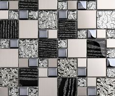 Silver metal mosaic stainless steel tile kitchen backsplash wall tiles SSMT114 glass mosaic tile glass tiles mosaics [SSMT114] - $24.43 : MyBuildingShop.com