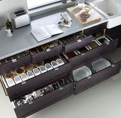 Love these organised kitchen drawers, make it so much easier to find things than cupboards.