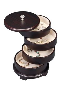 Store your precious items in this unique wooden jewelry box. Featuring four swivel drawers, decorated witha rich brown exterior, this jewelry box is perfect for keeping jewelry safe or as an accent piece in any room. Wooden Jewelry Boxes, Jewellery Boxes, Jewellery Storage, Jewelry Organization, Organization Ideas, Storage Ideas, Joss And Main, Decorative Accessories, Jewelry Accessories