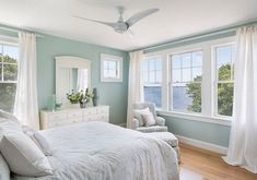 Palladian blue bedroom blue living room traditional with red bm palladian blue bedroom that wife home tour marsha guest room new Coastal Bedrooms, Coastal Living, Coastal Curtains, Coastal Bedding, White Curtains, Bedroom Paint Colors, Paint Colours, Beach Bedroom Colors, Wall Colors