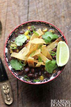 Black Bean Chili and Cumin Dusted Tortilla Strips {Beard and Bonnet} #gluten-free #vegan