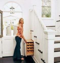 shoe closet at entry ... love great idea for near the entrance of a house.  keep shoes out of sight, but in easy reach!!